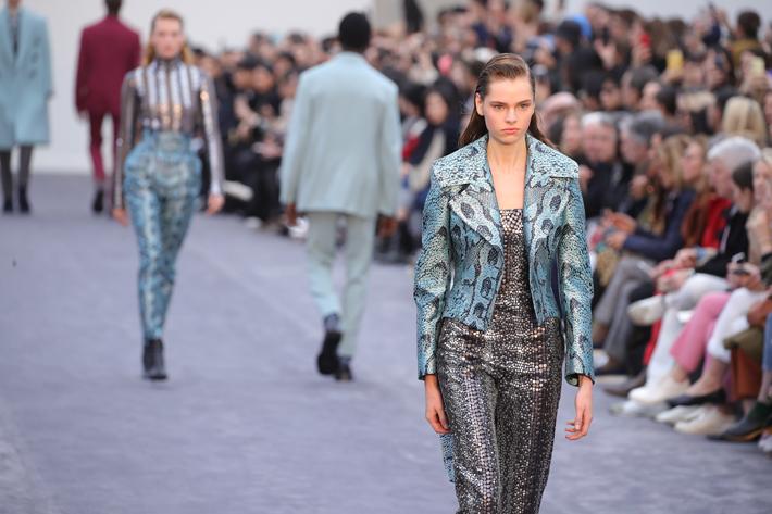 models walk the runway in metallic animal print leathers at the roberto cavalli show milan fashion week fall 2019