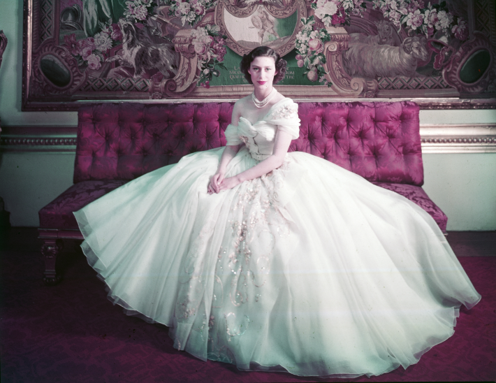 photo of princess margaret in the dior exhibition, christian dior: designer of dreams at the v&a museum london