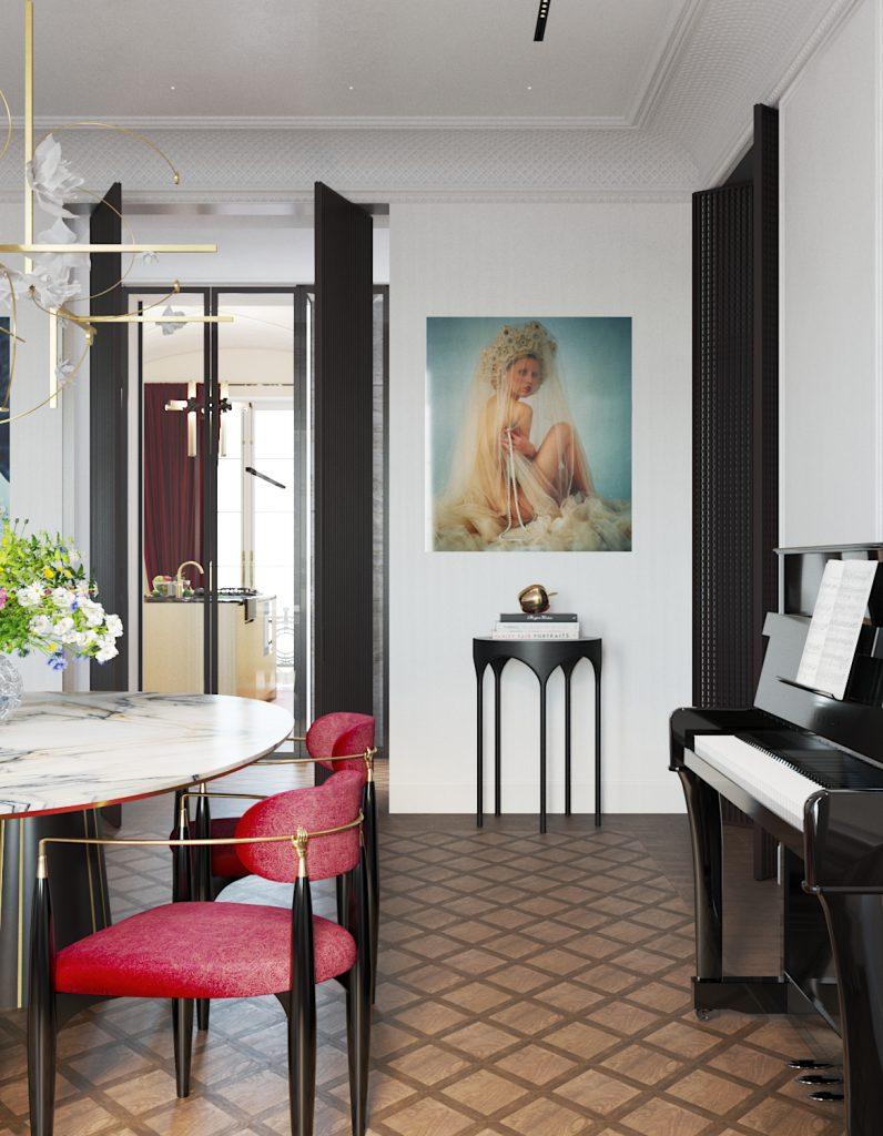 russian renaissance dining room design by Vadim Maltsev with an oval marble dining table, a brass and floral chandelier by pelle, red nahema dining chairs by koket, and a religious inspired piece of wall art by uldus bakhtiozina