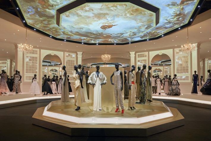ballroom section at the dior exhibition, christian dior: designer of dreams at the v&a museum london