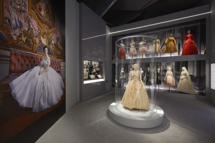 dior in britain section at the dior exhibition, christian dior: designer of dreams at the v&a museum london