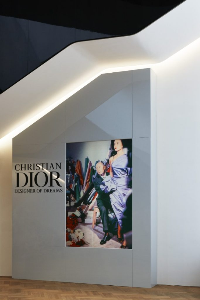 entrance to the dior exhibition, christian dior: designer of dreams at the v&a museum london