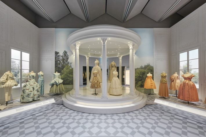 historicism section at the dior exhibition, christian dior: designer of dreams at the v&a museum london