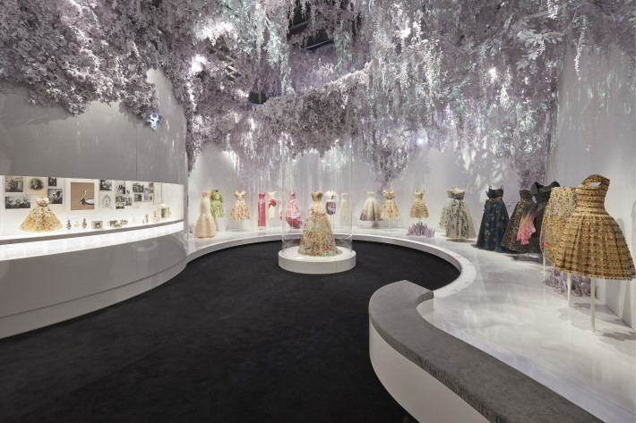 garden section at the dior exhibition, christian dior: designer of dreams at the v&a museum london