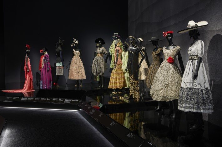 travel section at the dior exhibition, christian dior: designer of dreams at the v&a museum london