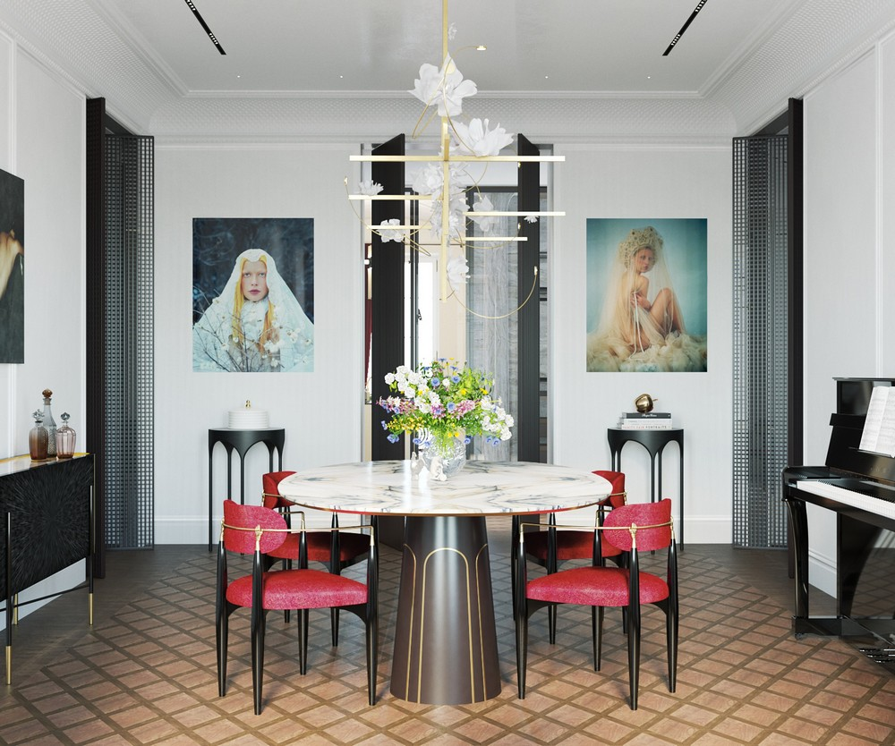 dining room with red nahema chairs koket russian apartment vadim maltsev design