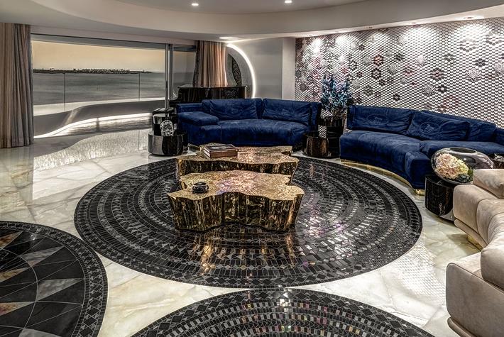 luxury living room design by ZZ Architects Luxury Apartment Mumbai