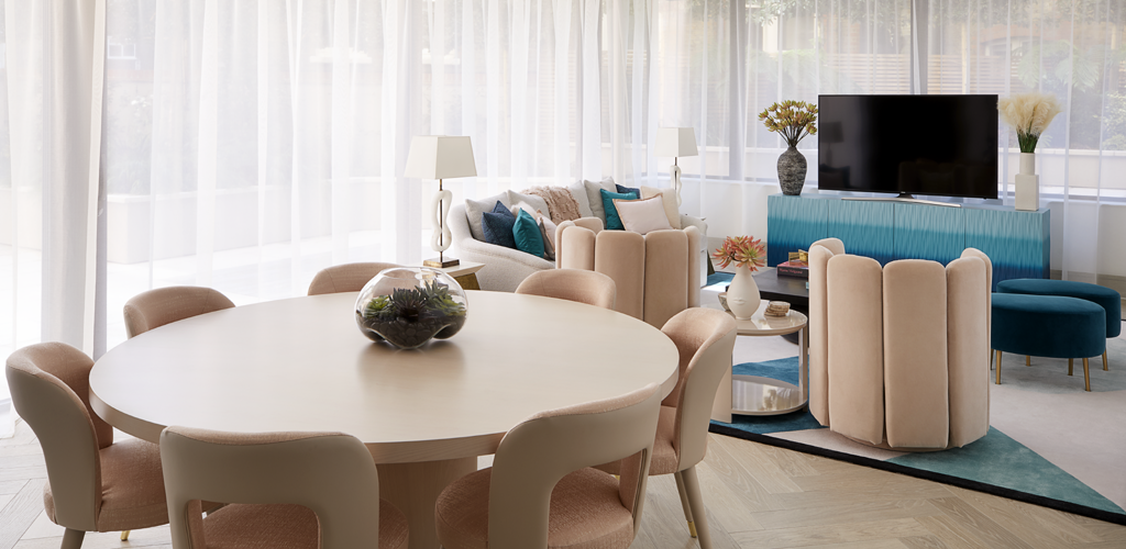 pastel colors in living room and dining room in a playful interior by elicyon