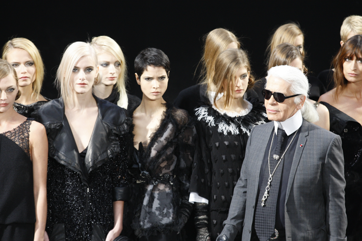 Karl Lagerfeld with Chanel Runway Models Source: Fashionstock.com / Shutterstock