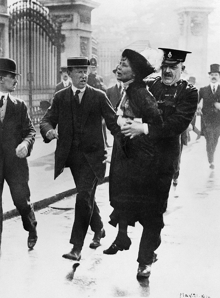 Mrs Emmeline Pankhurst, Leader of the Women's Suffragette movement, is arrested outside Buckingham Palace while trying to present a petition to King George V in May 1914. women empowerment