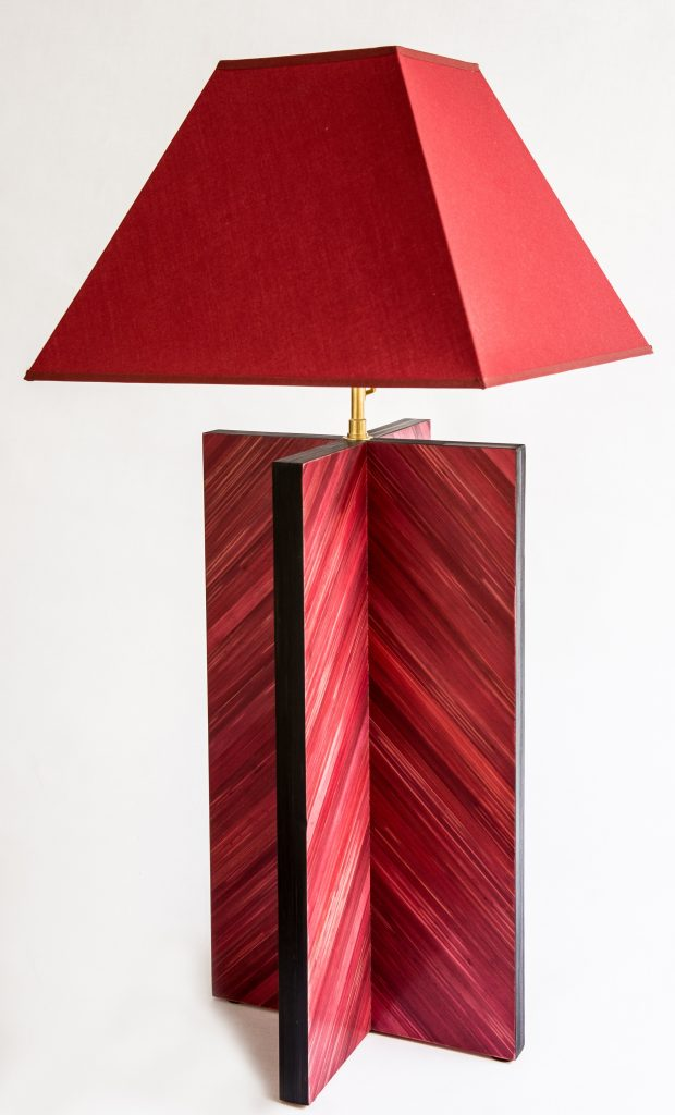 red straw marquetry table lamp by lison de caunes