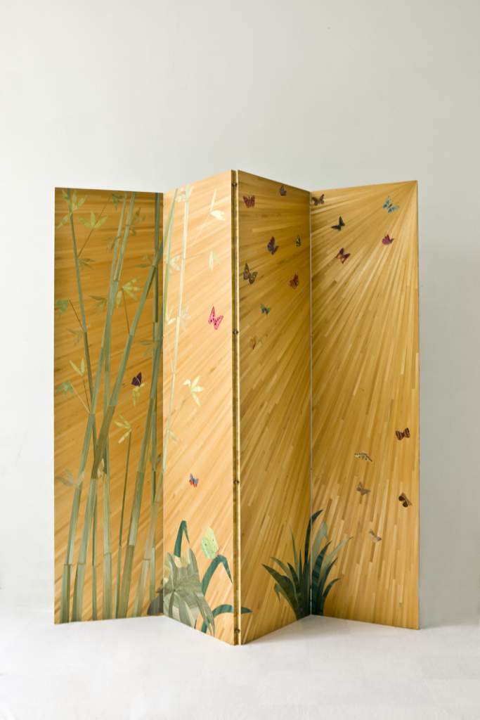 straw marquetry bamboo pattern floor screen by lison de caunes