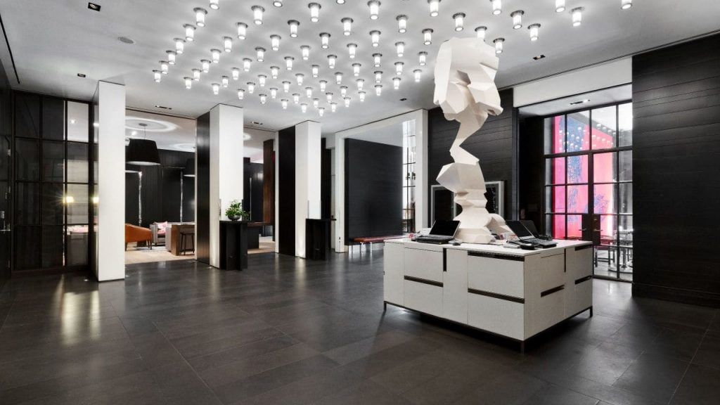 contemporary designed lobby at andaz 5th avenue hyatt a top boutique hotel in nyc