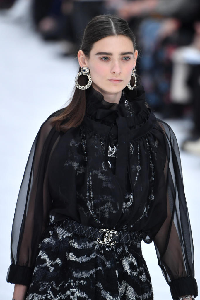 A model walks the runway during the Chanel show as part of the Paris Fashion Week Fall/Winter 2019/2020 Womenswear presentation