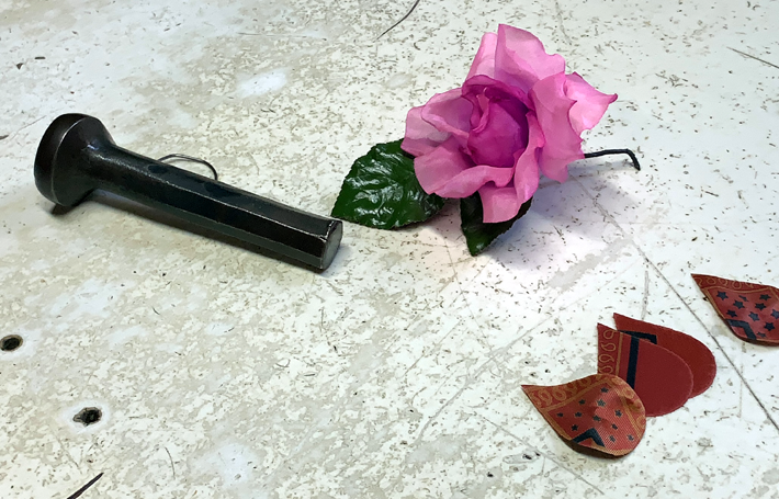 cutting tool, cut petals and finished artificial flower on Behind the Scenes at Ets Legeron with Le Connoisseur