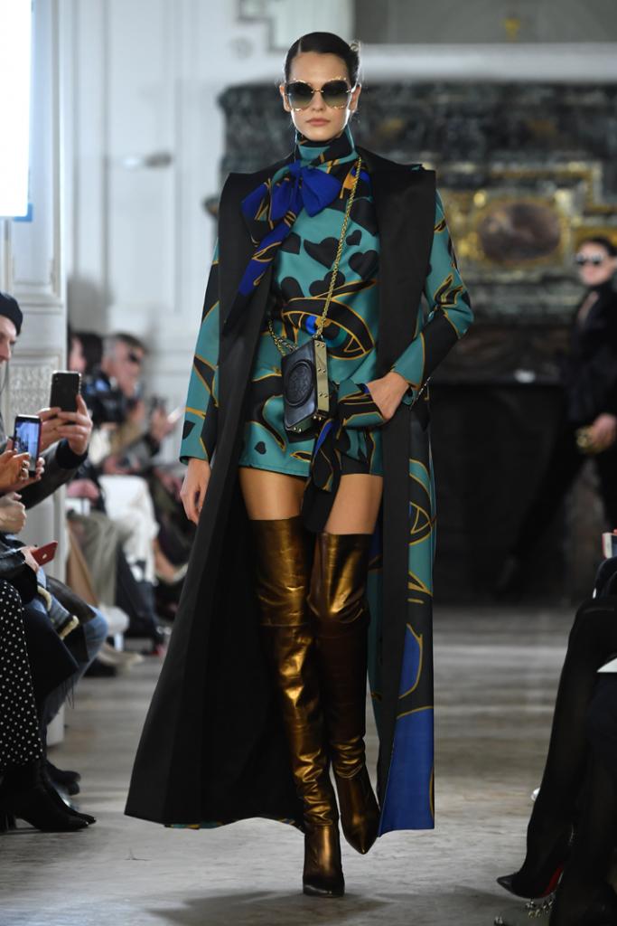 A model walks the runway during the Elie Saab show at Paris Fashion Week Fall/Winter 2019/2020 Womenswear presentation
