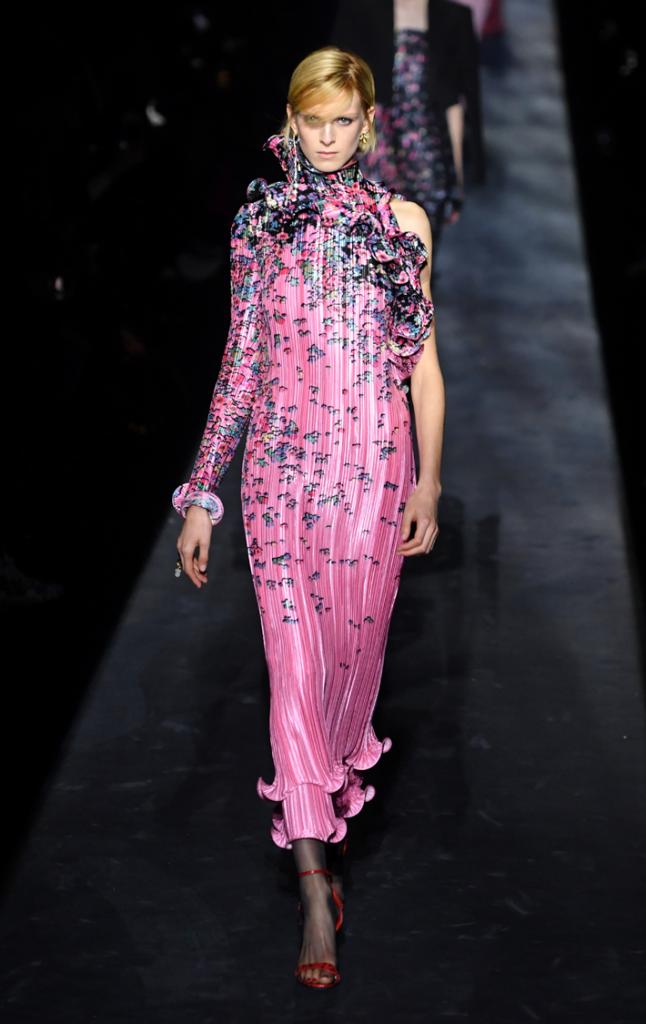 A model walks the runway during the Givenchy show at Paris Fashion Week Fall/Winter 2019/2020 Womenswear presentation