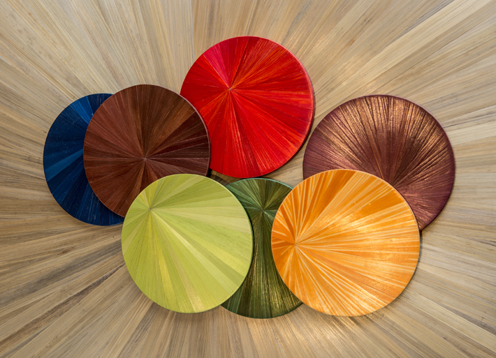 colorful straw marquetry coasters by lison de caunes