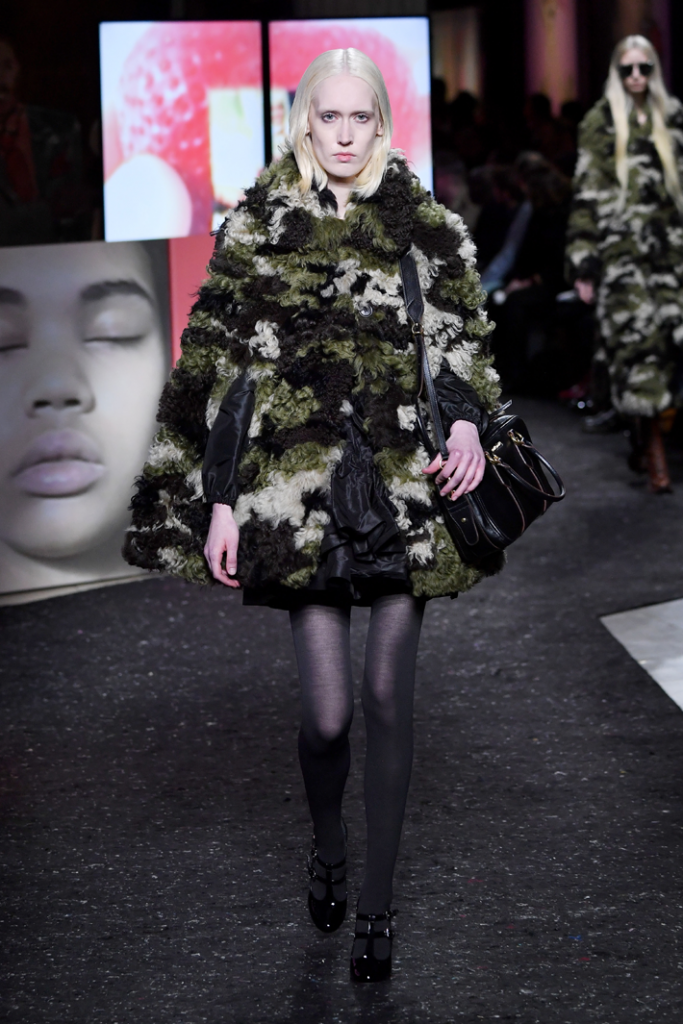 A model walks the runway during the Miu Miu show at Paris Fashion Week Fall/Winter 2019/2020 Womenswear presentation