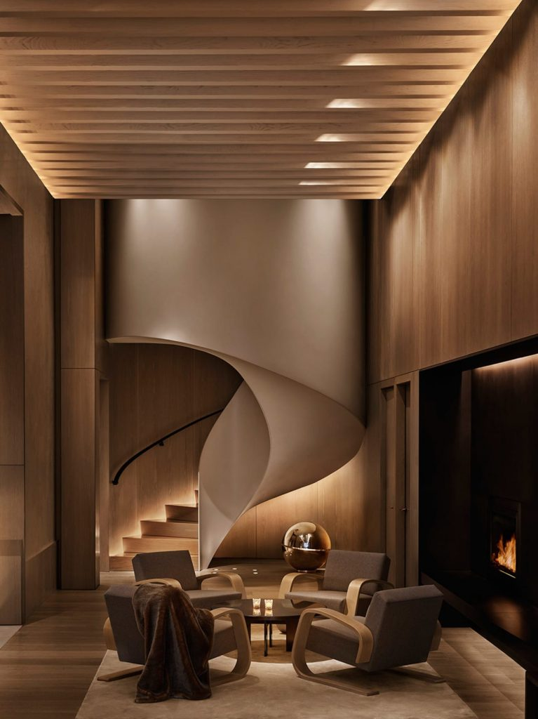 staircase in the lobby of the new york edition hotel - a top boutique hotel in nyc