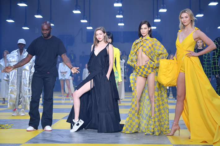 (L-R) Designer Virgil Abloh, Gigi Hadid, Bella Hadid and Karlie Kloss during the finale of the Off-White show at Paris Fashion Week Fall/Winter 2019/2020 Womenswear presentation