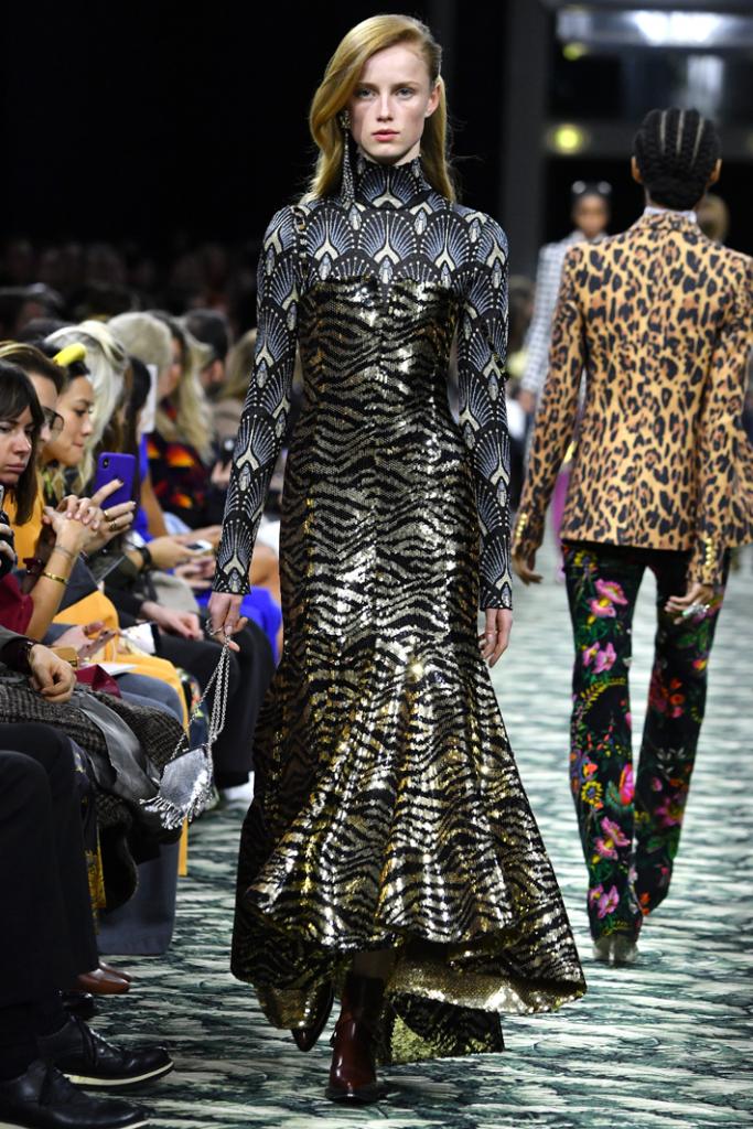 A model walks the runway during the Paco Rabanne show at Paris Fashion Week Fall/Winter 2019/2020 Womenswear presentation