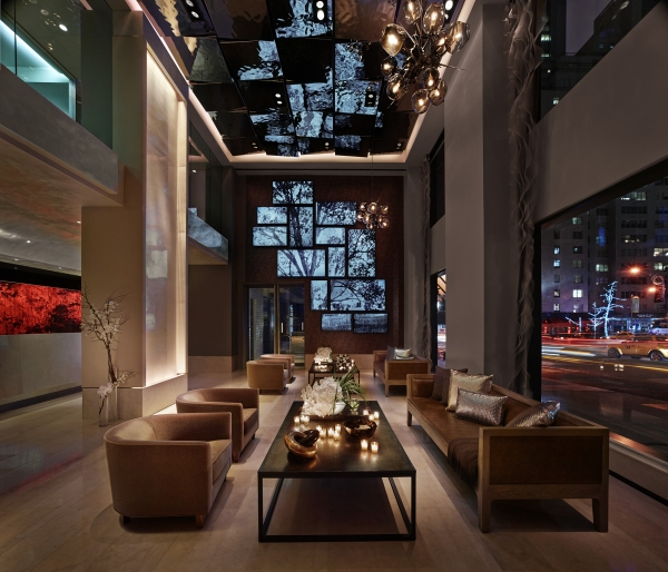 Quin Lobby Night Scene photo by Robert Malmberg - top boutique hotels in nyc