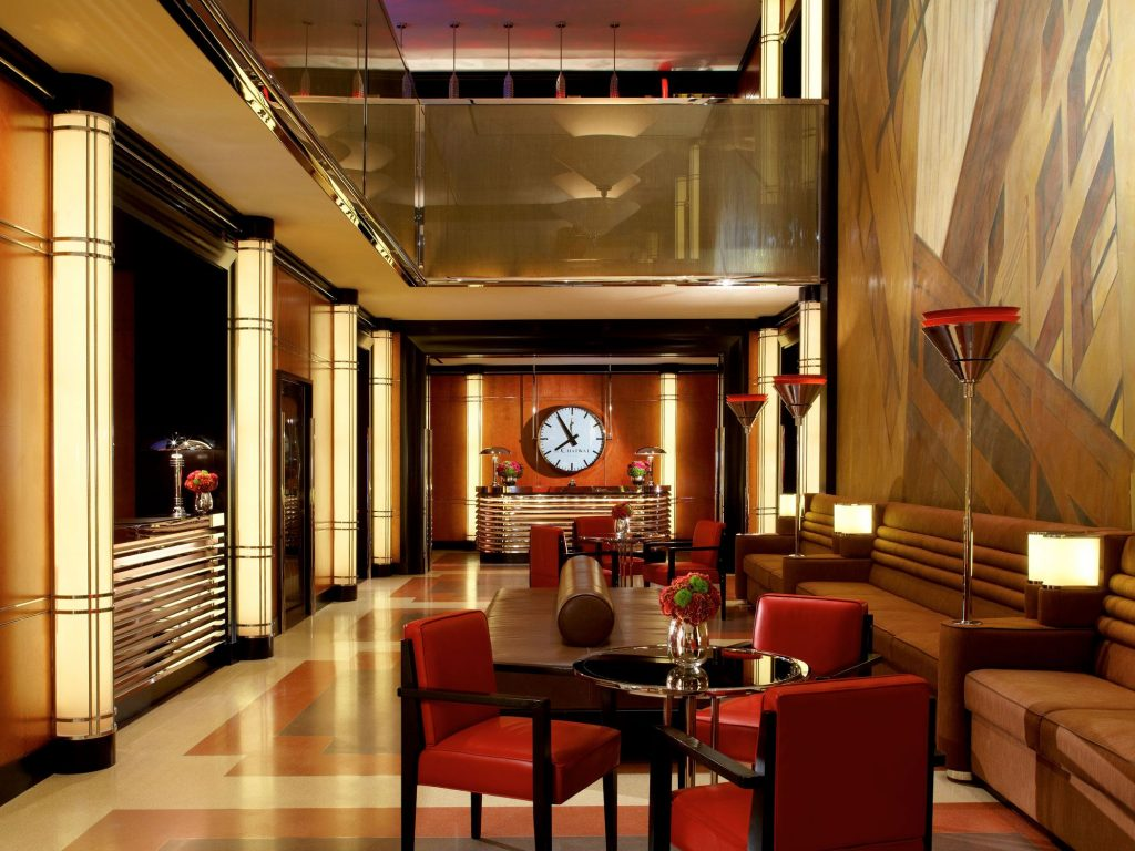 art deco lobby at the chatwal hotel times square - a top boutique hotel in nyc