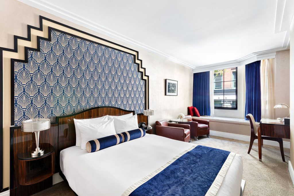 blue and white art deco inspired guest room at the walker hotel - top boutique hotels in nyc