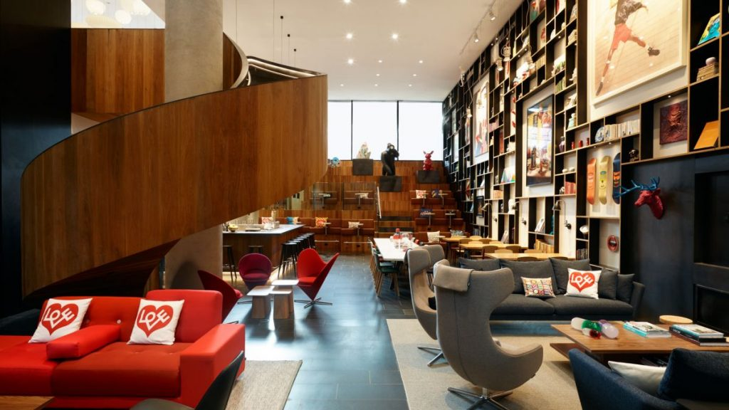 stylish modern lobby of citizenM new york bowery hotel - a top boutique hotel in nyc