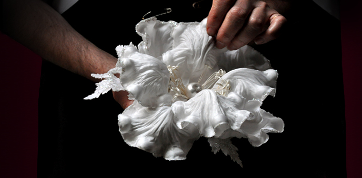 a white artificial flower with pearl center on Behind the Scenes at Ets Legeron with Le Connoisseur