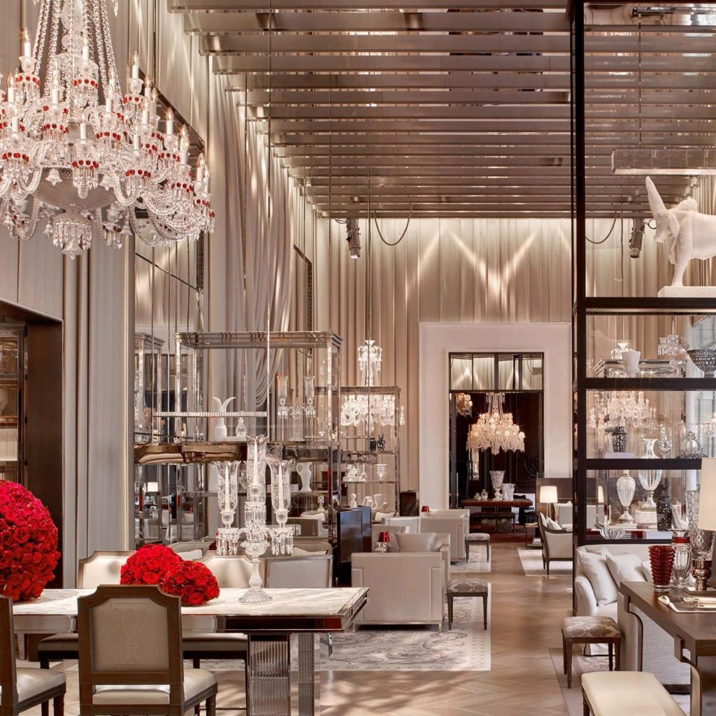 grand salon at the baccarat hotel filled with baccarat crystal designs - a top boutique hotel in nyc