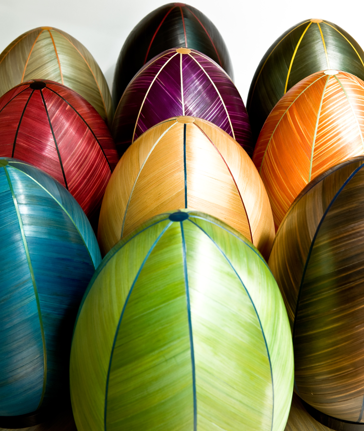 colorful straw marquetry eggs by lison de caunes
