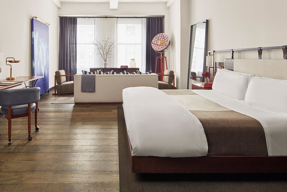 guest room at the refinery hotel new york - top boutique hotels in nyc