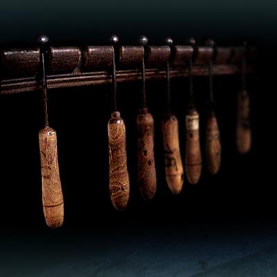 Period tools used for shaping artificial flower petals on Period tools used for shaping artificial flower petals