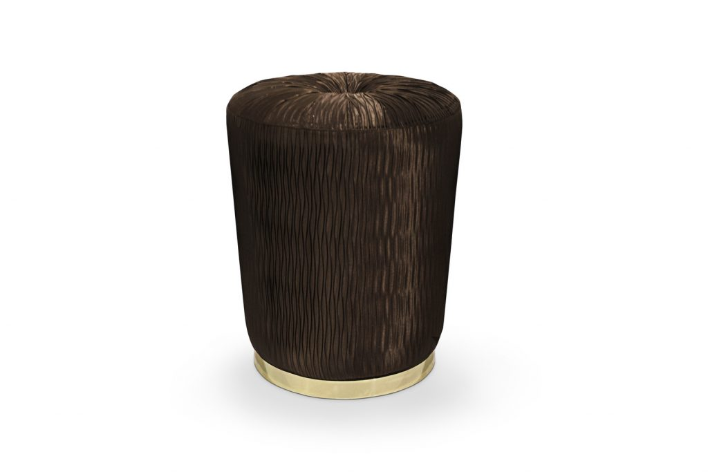 brown stool with gold base - tresor stool by koket to be auctioned at diffa's dining by design 2019 event at architectural digest design show
