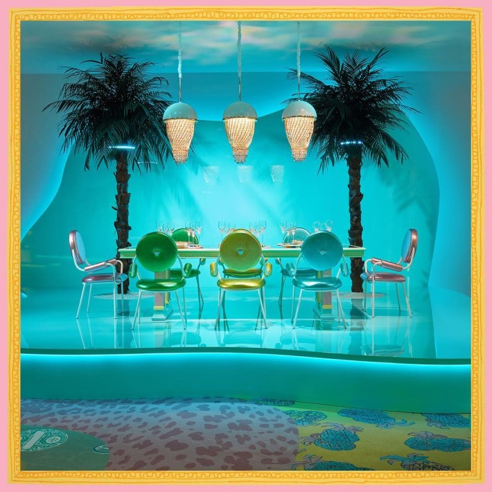 The dining area designed by Sasha Bikoff at the sasha bikoff x versace exhibit during milan design week