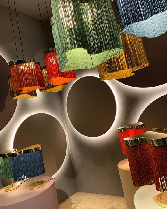 fringe table lamps and pendants - fringe trend salone del mobile 2019