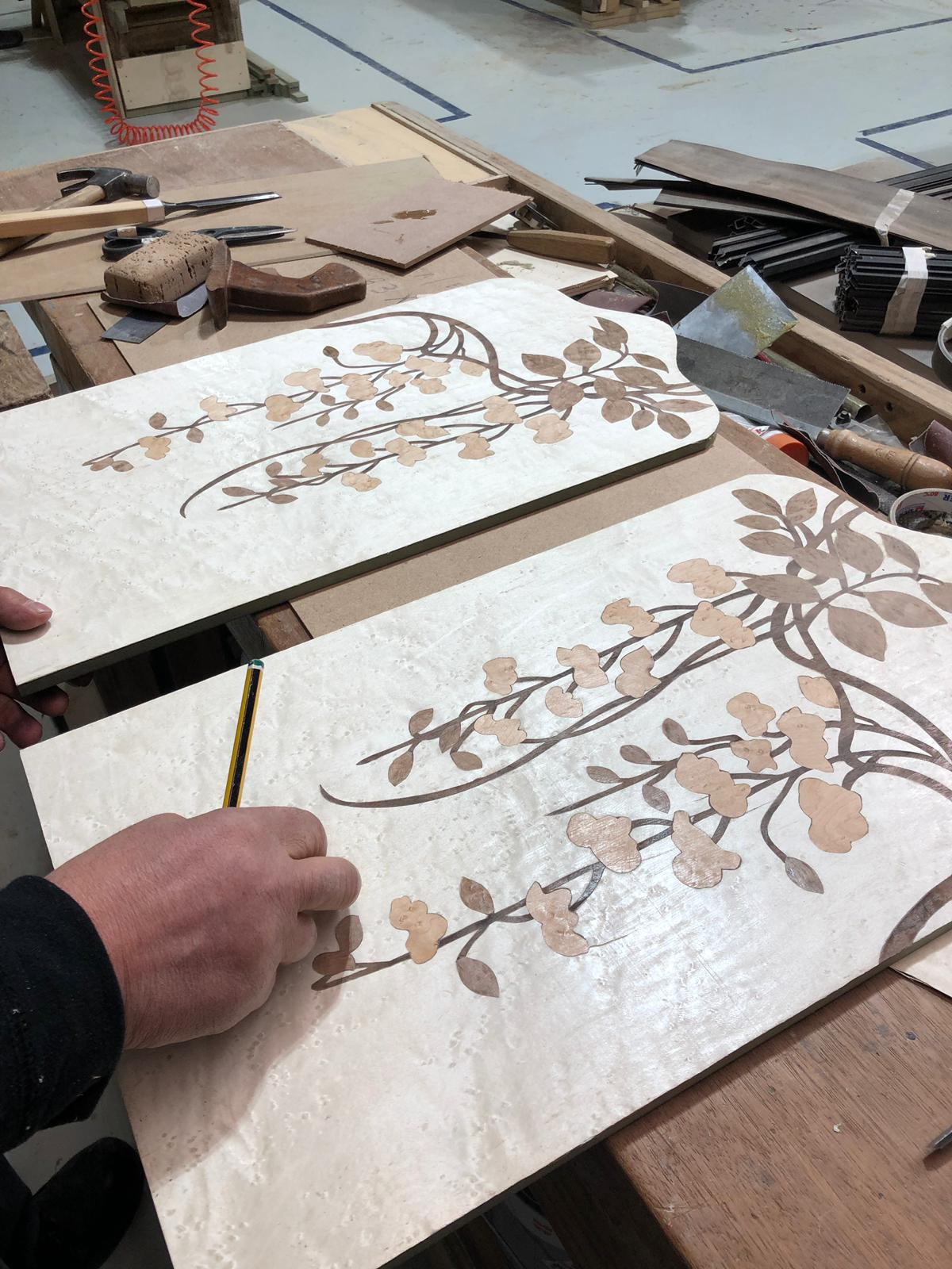 Marquetry detailing on the front of the new Fleur Nightstand by KOKET debuting at salone del mobile.milano 2019