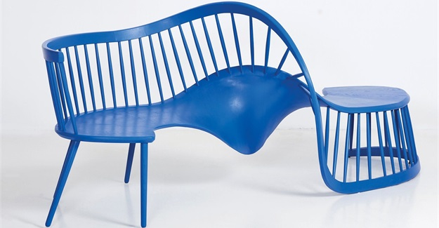 blue twisting wood bench called interdependence bench 2 by south african furniture studio houtlander at rossana orlandi during milan design week 2019