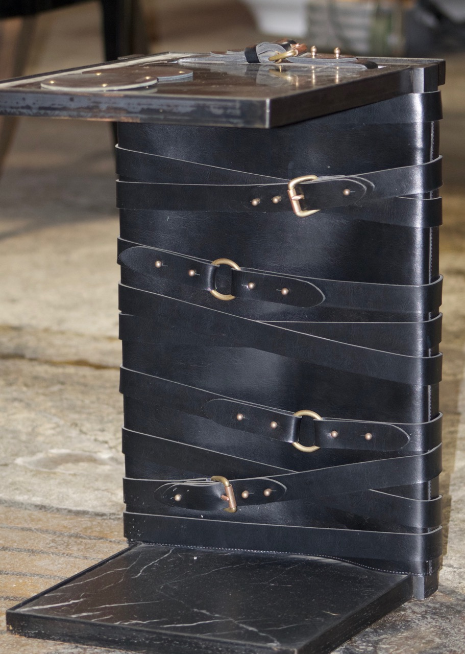 table with black marble and leather and brass details - restraint by (wh)ore haus studio furniture
