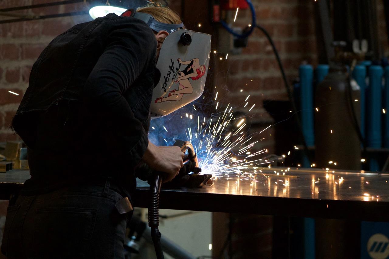 meyghan hill of (wh)ore haus furniture studio welding