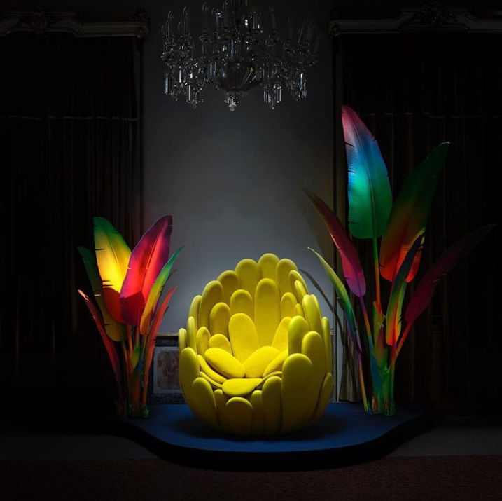 yellow flower like chair called bulbo by campana brothers for louis vuitton objets nomades 2019 at milan design week 2019