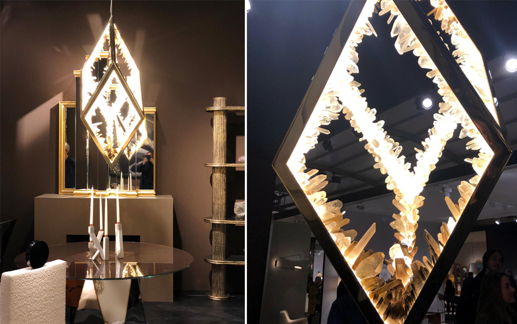 pad paris 2019 - art and design show - square rock crystal chandelier