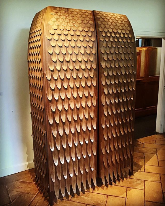 wood fish scale like wardrobe by trent jansen on display at rossana orlandi during milan design week 2019