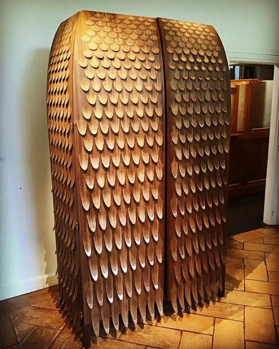 wood fish scale like wardrobe by trent jansen on display at rossana orlandi during milan design week 2019