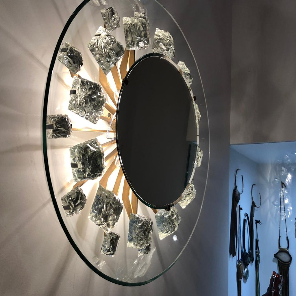 round mirror with glass details at pad paris 2019 art and design show