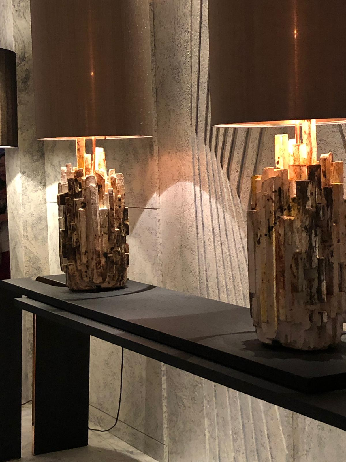 contemporary sculptural table lamps at pad paris 2019 art and design show