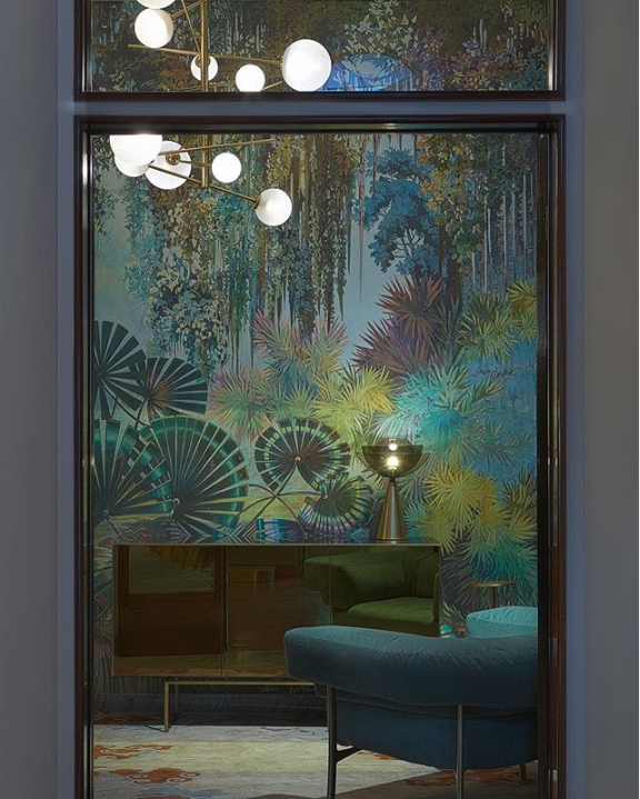 entryway at artemest x ted milano living objects exhibit during milan design week 2019 featuring jungle wallpaper by larghevedute handmade wallpaper