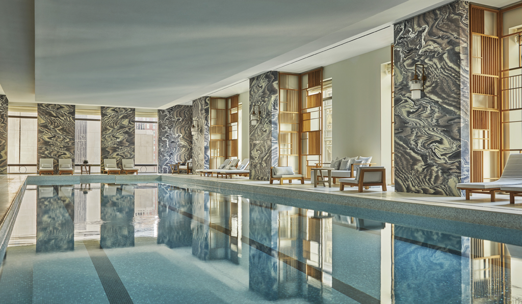 indoor pool at the four seasons new york downtown